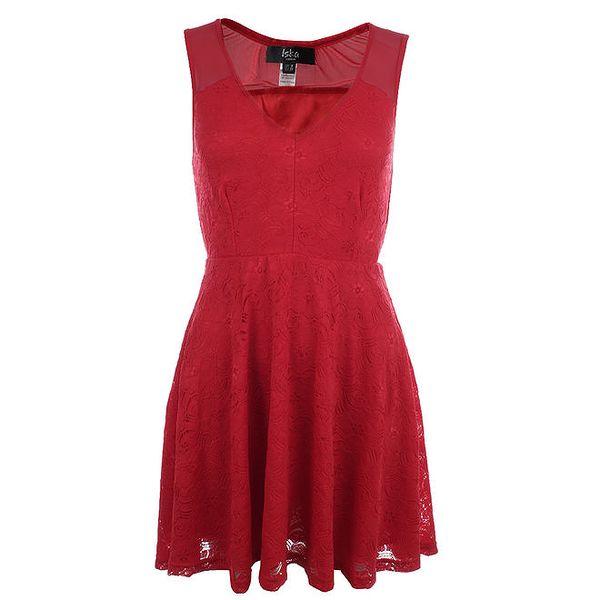 Dámské červené krajkové šaty s transparentními ramínky Iska