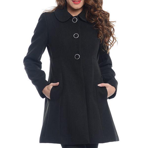 Dámský černý kabát s kapsami Vera Ravenna