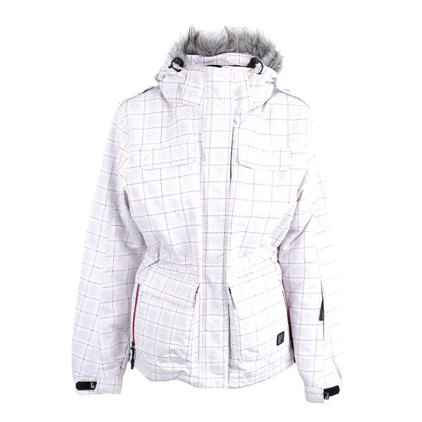 Dámská bílá zimní bunda s kostkovaným potiskem Joluvi