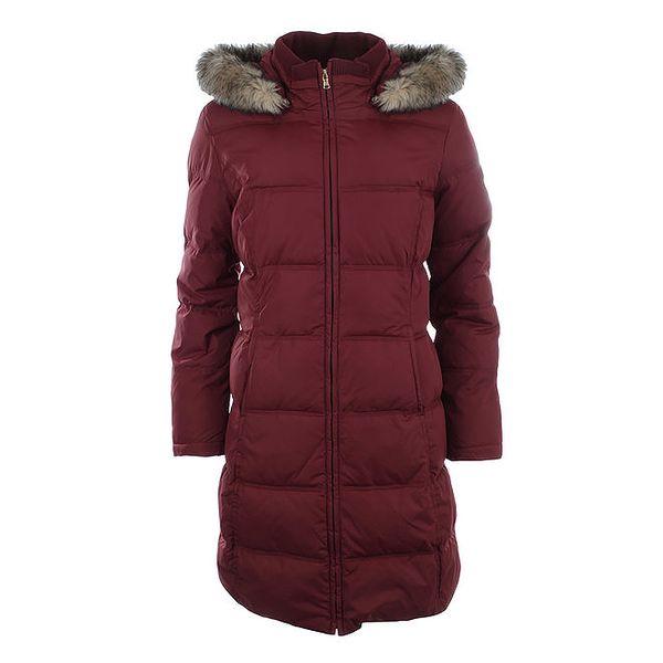 Dámský tmavě červený prošívaný kabát s kožíškem Halifax