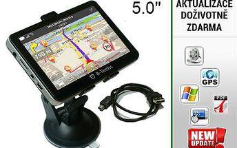 """Super rychlá 5"""" GPS Navigace B-Techs s vestavěnou pamětí"""