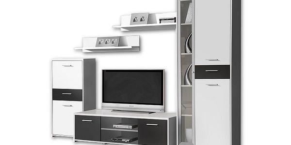 Obývací stěna Pablo (bílá/černá)