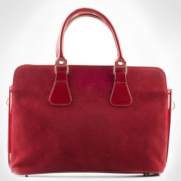 Dámská červená obdélníková semišová kabelka Felice