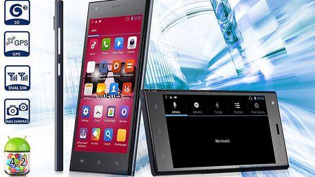 """5"""" smartphone s češtinou, duálním 5 Mpx foťákem a Androidem 4.2.2"""