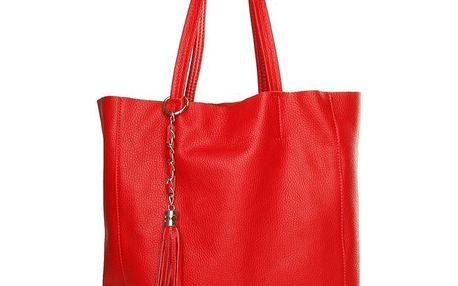 Dámská červená kabelka Made in Italia s přívěskem
