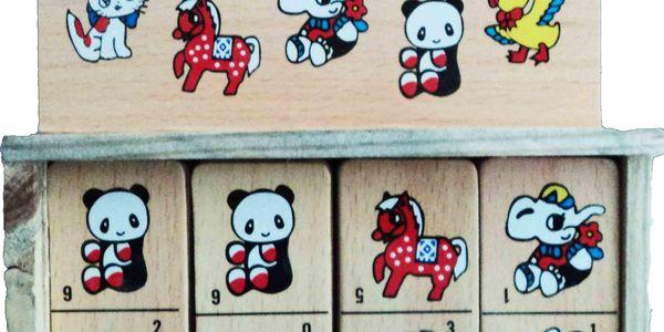 Domino se zvířátky v dřevěné krabičce
