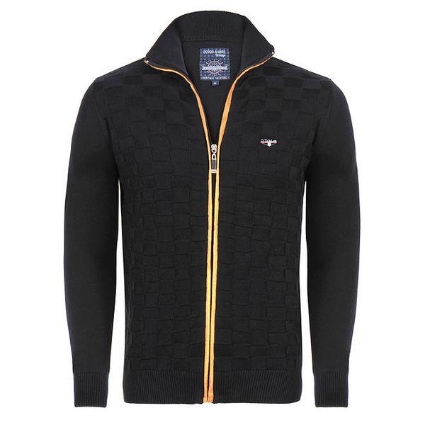 Pánský černý svetr na zip Giorgio di Mare