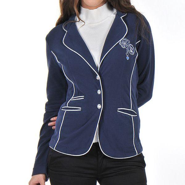 Dámské modré sako s kontrastním lemováním Giorgio Di Mare