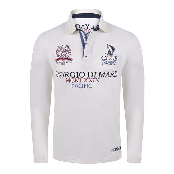 Pánské bílé polo tričko s nápisy Giorgio Di Mare
