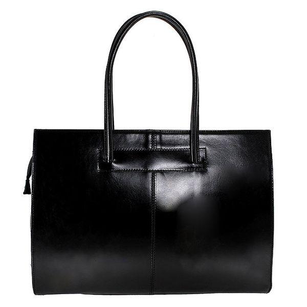 Dámská černá kožená kabelka s delšími poutky Florence Bags