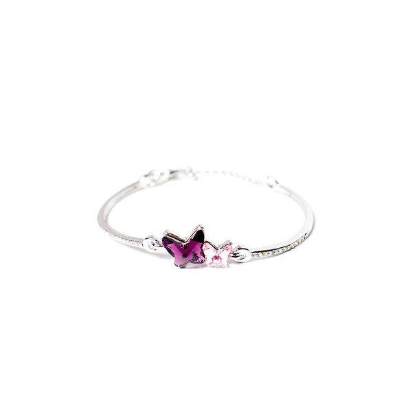 Dámský náramek s fialovými a bílými krystaly Swarovski Leonida