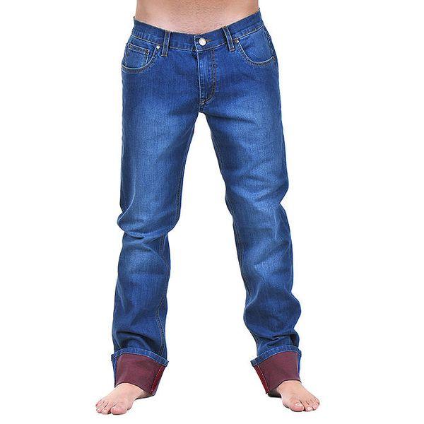 Pánské modré džíny s šisováním a bordó nohavicemi Giorgio di Mare