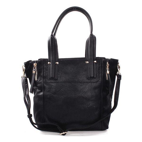 Dámská černá kabelka s okrasnými zipy Bessie