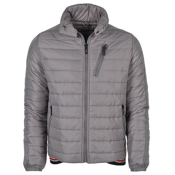 Pánská zimní prošívaná bunda v šedé barvě Giorgio Di Mare