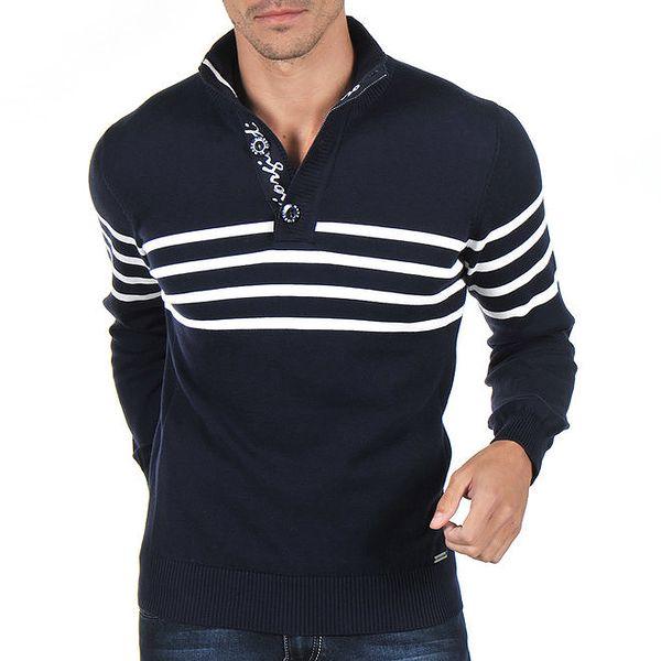 Pánský tmavě modrý svetr s bílými proužky Giorgio di Mare