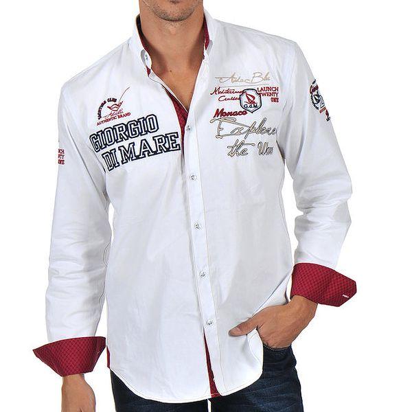 Pánská bílá košile s bohatým zdobením Giorgio di Mare