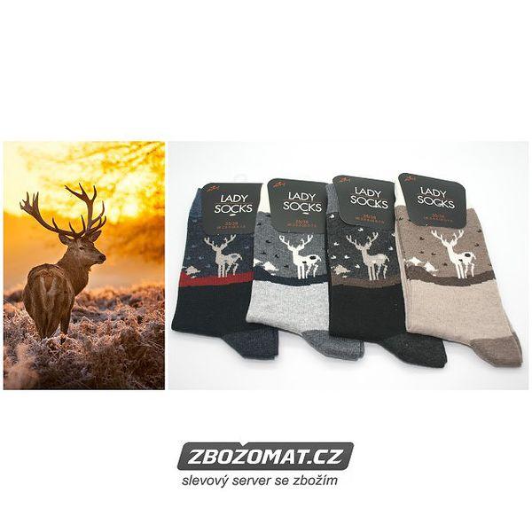 Dámské ponožky s jelenem 5 párů!