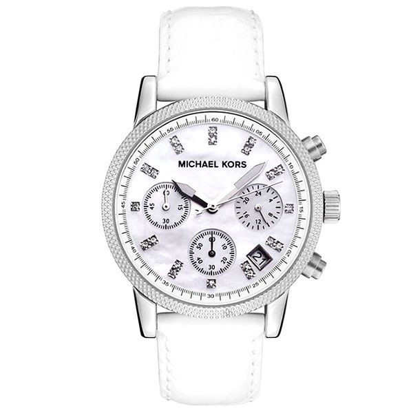 Dámské ocelové hodinky s bílým koženým řemínkem Michael Kors