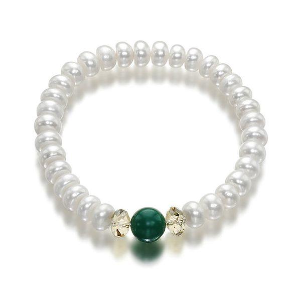 Bílý perlový náramek Orchira se zeleným nefritem