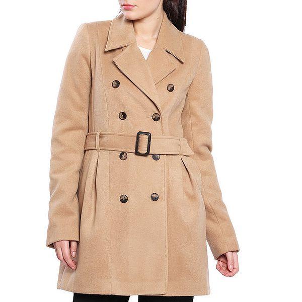 Dámský světle hnědý krátký kabát s páskem Vera Ravenna