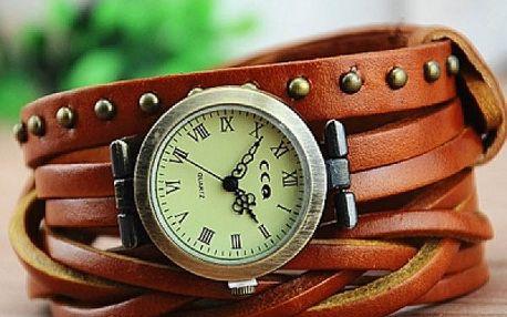 Koženkové hodinky s vícebarevným páskem