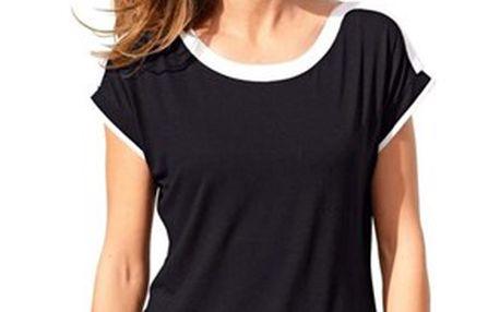 Jednoduché dámské tričko s kulatým výstřihem