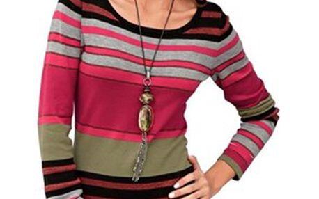 Dlouhý dámský proužkatý svetr
