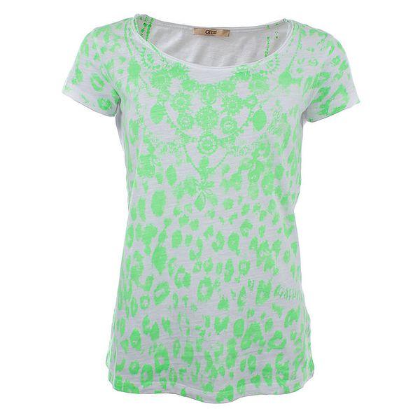 Dámské bílé tričko se zeleným potiskem Gaudí