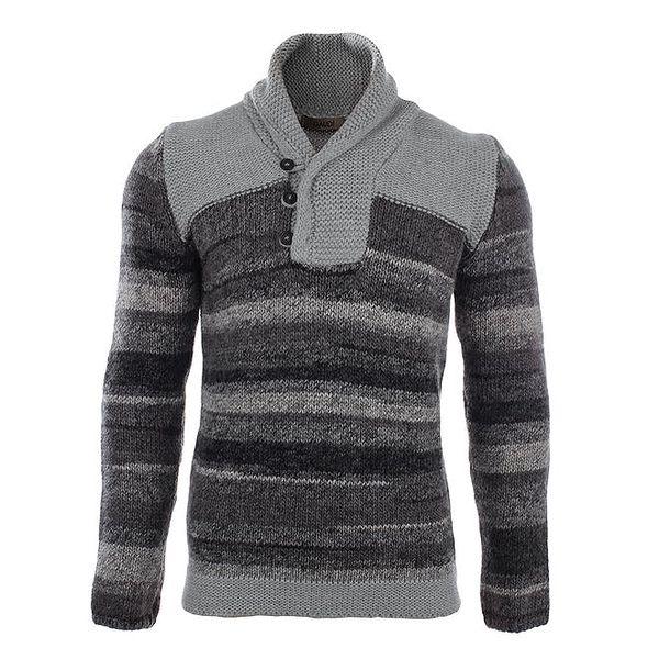 Pánský šedý pruhovaný svetr s límcem Gaudí
