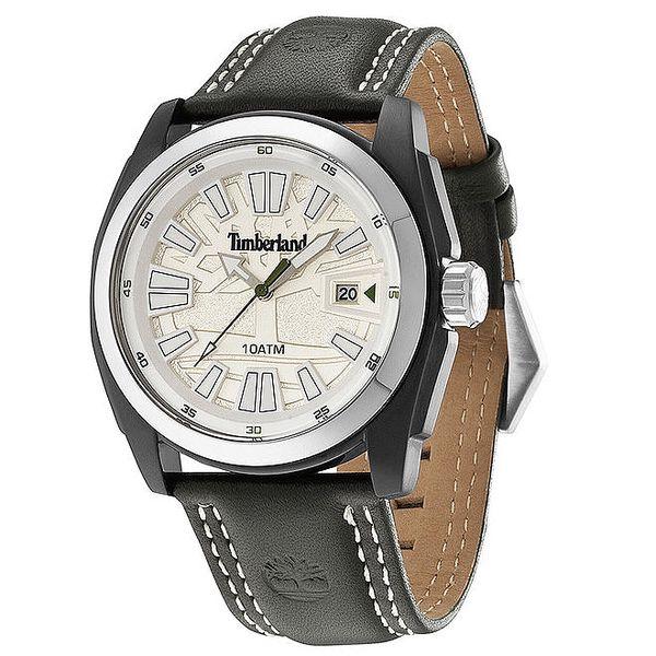 Pánské hodinky s černým koženým řemínkem Timberland