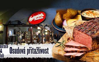 400g masa ROASTBEEF s PŘÍLOHOU a TATARSKOU OMÁČKOU pro 2 až 4 osoby v restauraci Osudová Přitažlivost!