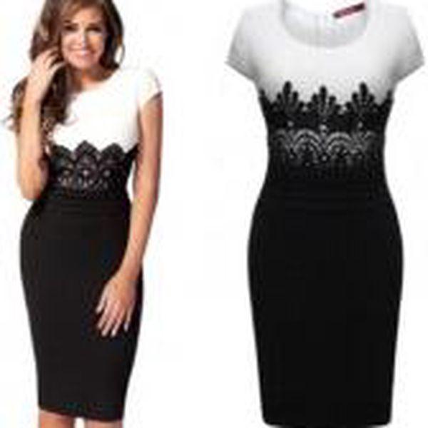 Okouzlující černo-bílé šaty s krajkou