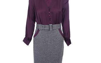 Dámské fialovo-šedé šaty s halenkou a páskem Pietro Filipi
