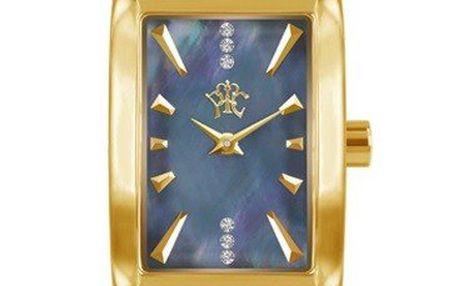 RFS dámské hodinky Prima s černým řemínkem a ciferníkem zlaté barvy