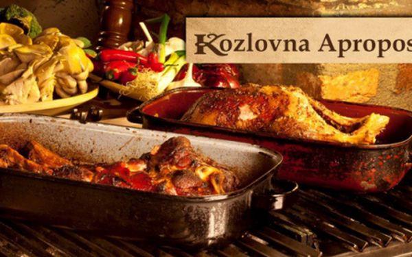 Veškerá jídla ve vyhlášené restauraci KOZLOVNA APROPOS s báječnou 50% slevou na všechna jídla! Speciality připravované na lávovém grilu přímo před vašima očima i šťavnaté steaky z nejčerstvějších surovin v restauraci přímo v centru Prahy!