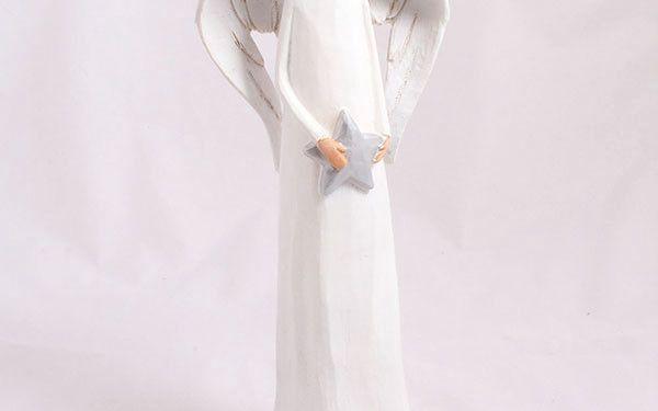 Keramický dekorativní anděl s hvězdou