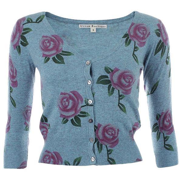 Dámský modrý svetřík s růžičkami Uttam Boutique