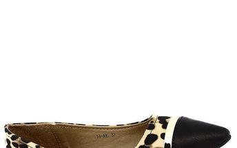 Dámské černé balerínky do špičky s leopardím vzorem Shoes and the City