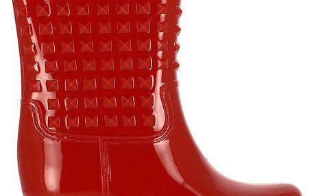 Dámské červené nízké holínky s pyramidkami Shoes and the City