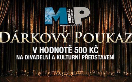 Poukaz v hodnotě 500 Kč vybraná představení do divadla Hybernia
