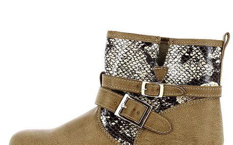 Dámské béžové kotníkové boty se vzorem hadí kůže Shoes and the City