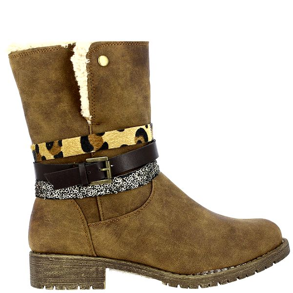 Dámské světle hnědé boty s kožíškem a dekorativími pásky Shoes and The City