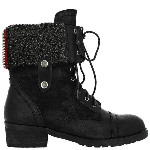 Dámské vysoké černé šněrovací boty Shoes and the City
