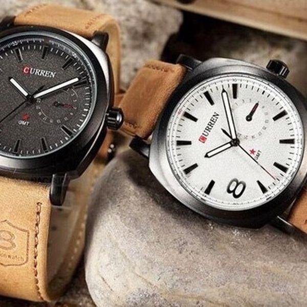 Moderní pánské hodinky s koženým páskem