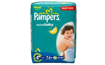 Plenky Pampers Active baby 4 maxi plus 9-16 kg 74 ks