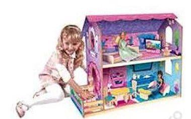Dvoupatrový dřevěný dům pro panenky s nábytkem