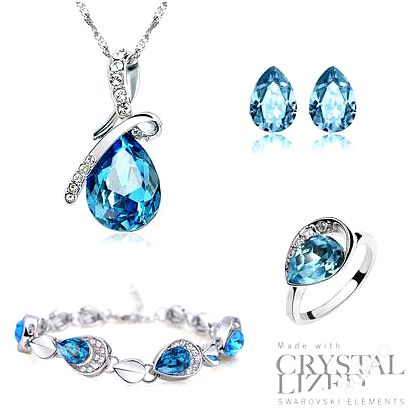 Set Swarovski Elements Tear Drop + prsten zdarma