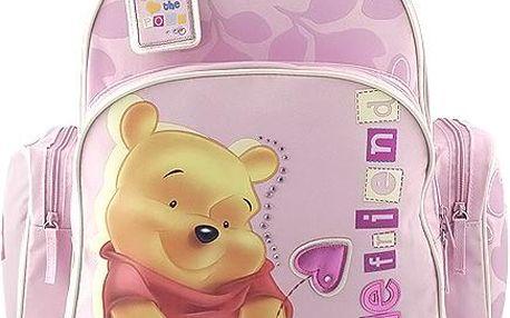 Růžový dívčí batůžek s motivem medvídka Pú