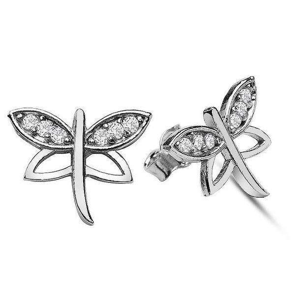 Dámské stříbrné náušnice ve tvaru motýlků Elite Goby