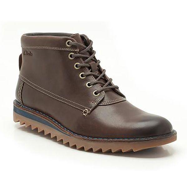 Pánské hnědé kotníkové boty s tkaničkovým šněrováním Clarks